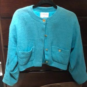 Chanel vintage teal cropped blazer